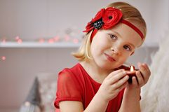 Girl with flower headband Stock Image