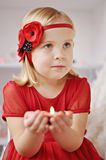 Girl with flower headband Royalty Free Stock Images