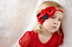 Girl with flower headband Royalty Free Stock Image