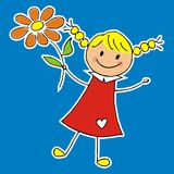 Girl with flower and heart, vector icon Stock Image
