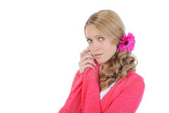 Girl with a flower in her hair. Stock Photography