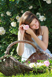 Girl with flower in her hairs Royalty Free Stock Images