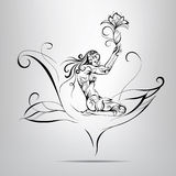 Girl with a flower.  illustration. Girl with a flower on a gray background Stock Image