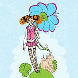 Girl with flower illustration Royalty Free Stock Photo