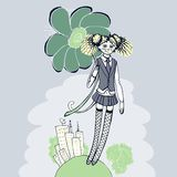 Girl with flower illustration - retro style Stock Images