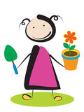 Girl with flower. Little girl planting flower on white background Royalty Free Stock Images