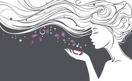 Girl with flower petals. Vector illustration with beautiful  long hair girl blows away flower petals from her palm Stock Images