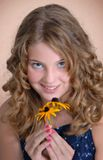 Girl with flower, portrait Royalty Free Stock Photos