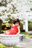 Girl in a flower pot2 Royalty Free Stock Image