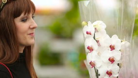 Girl in the flower shop chooses orchids. Buyer girl in the flower shop chooses orchids in pots stock video