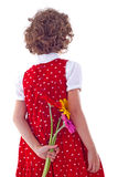 Girl with flower surprise stock image