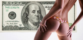 Girl with a flower underwear backdrop of money Stock Image