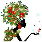 Girl flower vector Stock Photography
