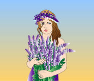 Girl with a flower. Vector image can be changed to any size Royalty Free Stock Photo