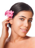 Girl and Flower royalty free stock images