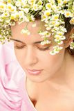 Girl with a flower wreath Royalty Free Stock Photography