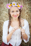 Girl with flower wreath Stock Photography
