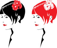 Girl with flowers. Beautiful girl face with flowers, vector illustration. Red, black and white Stock Photos