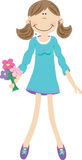 Girl with flowers. Girl wearing blue dress with flowers stock illustration