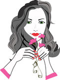 Girl with flowers. Potrait of a girl with nice hair and flowers in her hand Royalty Free Stock Image