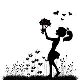 Girl with flowers. Girl silhouette with flowers vector Royalty Free Stock Images