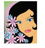 Girl with flowers. Vector image of a girl with flowers Royalty Free Stock Photos