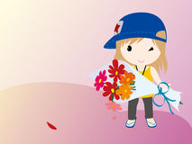 Girl and  flowers. The girl in the field with flowers Royalty Free Illustration