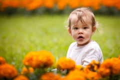 Girl with flowers Stock Photo