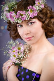 Girl with flowers Royalty Free Stock Photo