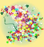 Girl flowers. To yellow-green background shapes a woman's head, with hair of flowers Stock Photography