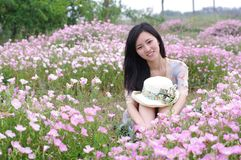 Girl in flowers Royalty Free Stock Photo
