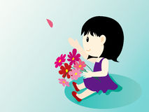 Girl and flowers-2. The girl in the field with flowers Royalty Free Illustration
