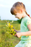 Girl with flowers. Little girl with flowers in a summer meadow Stock Image