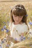 Girl among flowers Stock Image