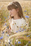 Girl among flowers Stock Images