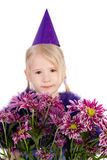 Girl and flowers Royalty Free Stock Photos