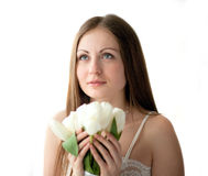 The girl with flowers Royalty Free Stock Photography