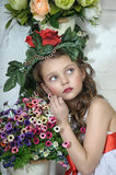 Girl with flowers. Vintage Girl with Flowers in her hair Royalty Free Stock Photo