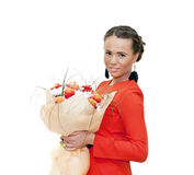 Girl with flowers; Stock Image