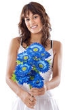 Girl with flowers. Attractive girl with flowers a over white background Stock Photo