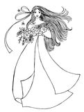 Girl with flowers. A vector illustration of a young woman in an elegant gown carrying a bouquet of flowers Stock Photos