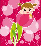 Girl with flowers royalty free illustration