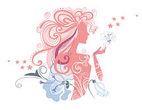 Girl with flowers. Vector illustration of a decorative a silhouette of the girl and flowers Stock Photo