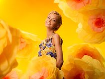 Girl among flowers Royalty Free Stock Images