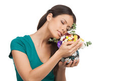 Girl with flowers. Royalty Free Stock Photography