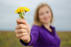Girl with flowers. Blondie girl holding a dandelion in her hand Royalty Free Stock Photos