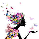 Girl with flowers butterflies Royalty Free Stock Photo