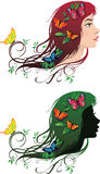 Girl with flowers and butterflies in her hair Royalty Free Stock Photos