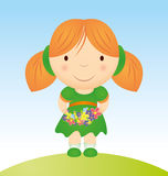 Girl with flowers cartoon illustration Royalty Free Stock Image