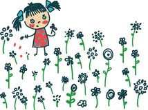 Girl and flowers. Children doodles with kids talking Stock Images